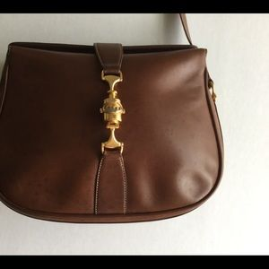 GUCCI Auth. Brown Leather with Gold Accents Snap
